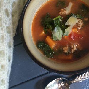 sausage, sweet potato and kale soup
