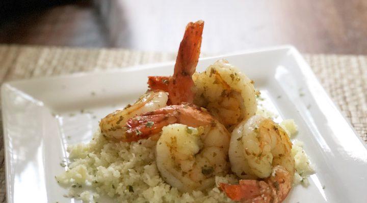 Pesto Grilled Shrimp & Garlic Cauliflower Rice